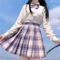 스커트 2021 여름 여성 하이 허리 Pleated Harajuku 한국식 스타일 패션 귀여운 카와이 미니 소녀 학생 격자 무늬 스커트