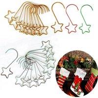 Hooks & Rails 20pcs lot Christmas Wreath For Tree Hanging Pendant Ornament Metal Star Decorations Hook Xmas Home Decor