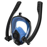Diving Masks Adult Full Face Swim Mask Double Tube Silicone Snorkeling Anti Fog Breathing Underwater Scuba Professional Equipment