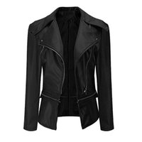 Women's Jackets Women Outerwear Coats Fashion Casual Ladies Lapel Motor Leather Jacket Coat Zip Biker Short Punk Cropped Tops M840#