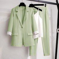 Women Blazer suit for Spring Autumn Lady Blazer Jacket +Long Pant Female Outerwear Elegant Ladies Coat Plus size M-4XL