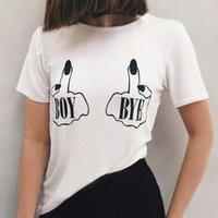 개인화 된 손가락 소년 편지 T 셔츠 여성 섹시한 탑스 CN (원산지) 코튼 여름 캐주얼 아플리케 일반 만화 O 넥