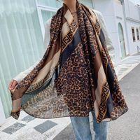 Moda otoño e invierno leopardo patrón geométrico de algodón lino de lino bufanda impresión F letra chal dual-use bufandas