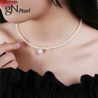 GN Pearl Choker Necklace 4-5mm Natural Natural Freshwater Pearls Colgante Cadena Fina Joyerly GNPearl para Mujeres Girls Regalo