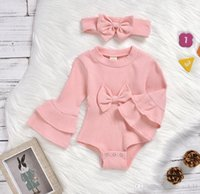 2021 baby kids clothing Jumpsuit children girls long-sleeved horn cuff triangle romper + bow hairband 2pcs set