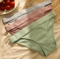 Sexy Women Underwear Low Waist Solid Color Knitted Cotton Wo...