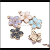 Wholesale Colorful 5 Leaves Flower Enamel Fashion Elegant Finding Bracelet Necklace Pendant For Diy Jewelry Making Gift Tks4A 4Imuj