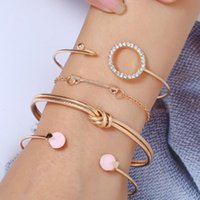 Gold Silver Déclaration ethnique arrow rond incrusté brillant cristal stone bracelets ouverts bracelets pour femmes bijoux accessoires bracelet
