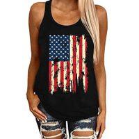 Women's T-shirts 2021 Independence Day Sleeveless Vogue Tops Tee Shirt Stars Striped Print Summer Female T shirts S-3XL