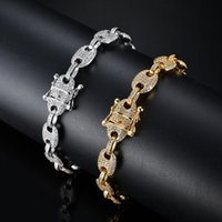 Hip Hop CZ Cuban Chain Brass   Copper Iced Out Zirconia Bracelet Bling Chain Bracelet for Men Jewelry DFF3487
