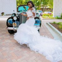 Cascading Ruffles Mermaid Bridal Gown Wedding Dresses with Long Sleeve Lace Beaded Plus Size African Wear
