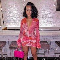 2021Anjamanor Pink Bandana Mesh BodyOCN Dress Dress Abiti da club per le donne a maniche lunghe svasate con scollo a V a V String Mini Dress D85-Be12