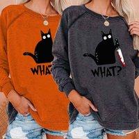 Christmas cat print round neck long sleeve t-shirt Women's Hoodies & Sweatshirts