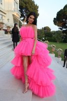 2021 High Low Prom Dresses Strapless Cocktail Party Dress With Sash Tiered Cake Skirts Celebrity Dresses Evening Wear