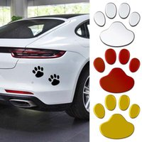 2Pcs Set 3D Animal Dog Cat Bear Foot Prints Sticker Waterproof Cool Design Paw Footprint Cute Decal Stickers For Car Truck Door Laptop Motobike Notepad