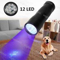Meşaleler 12Leds Renkli Alüminyum 395 NM UV El Feneri El Taşınabilir Ultraviyole Dedektörü Floresan Ajan Algılama Mor Lambası DHL