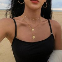 Pendant Necklaces Fashion Multilayer Round Portrait Coin Necklace For Women Trendy Gold Silver Color Choker Jewelry