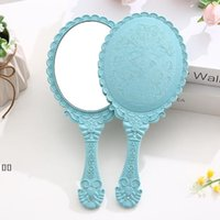 Hand-held Makeup Mirrors Romantic vintage Lace Hand Hold Zerkalo Oval Round Cosmetic Mirror make up Tool Dresser Gift HHD6484