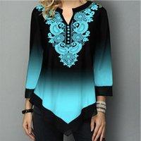 Shirt Women Spring Summer Blouse 3 4 Sleeve Casual Printing Female Fashion Tops Plus Size 5XL StreetShirt Women's Blouses & Shirts