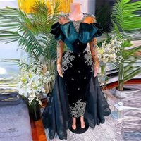 2022 African Overskirts Evening Dresses Mermaid Crystals Beads Appliques Illusion Long Sleeves Prom Dress Ruffles Velvet Party Gowns