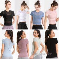 lu yoga shirts t-shirt tshirts for women designer woman t shirt outfit Breathable mesh sport fitness lace 2021 0201 S3mH#