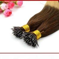 "XCSUNNY 18""20"" Human Hair Nano Extensions Straight 100g pk 100% Indian Human Remy Hair Nano Ring Hair Extensions + 100 Beads"