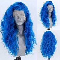 Kadın dalga dantel peruk, hiçbir tutkal sentetik saç, doğal saç çizgisi, ısıya dayanıklı elyaf, mavi
