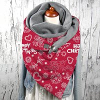 Cycling Caps & Masks Vintage Winter Christmas Letters Print Scarf Women Casual Button Soft Wrap Scarves Fashion Warm Shawls