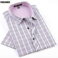 Pauljones 42xx 여름 망 격자 무늬 짧은 소매 셔츠 레저 스타일 슬림 피트 캐주얼 셔츠 꽃 인쇄 / 체크 무늬 의류 남성 캐주얼