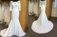 Vintage Jewel Neck Real Photo Memaid Wedding Dress 2022 Half Illusion Sleeves Lace Bodice Ruched Long Arabic Country Designer African Court Train Bridal Gowns