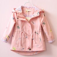 Jackets 2021 Spring Autumn Girls Windbreaker Coat Baby Kids Flower Embroidery Hooded Outerwear Casual Dot Jacket Clothing