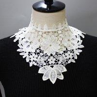 Mujeres encaje floral fake collares camisas de señoras cuello desmontable negro bordado collar falso chal arco decorativo corbatas
