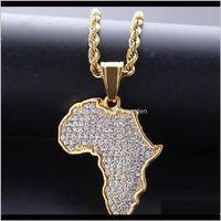 Alta Qualidade Mapas Africanas Brocas Completas Pingente Colares De Ouro Plating Punk Set Auger Cristal De Aço Inoxidável Colar Mens Mulheres Jóias Rjdng