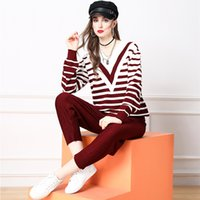 Elegant Knitted Two Piece Pants Sets Long Sleeve 2021 Runway Pullovers+Jacquard Autumn WinterWomen Designer Striped Suits Holiday Cafe Office Party Sweaters Set