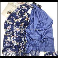 Hats, & Gloves Aessoriesvintage Fashion Scarf Women Winter Warm Flower Pattern Tassel Scarves Designer Luxury Long Print Wraps Shawl Drop Del