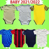Chelsea psg 2021 Kit de bebê AC Jersey Jersey Milão Manchester Kids Terno 2022 Meninos Criança Conjuntos Paris Futebol Camisa 21 22 Ronaldo Uniforme Messi Azul Vermelho Branco
