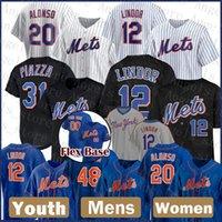 Yeni Mens York Özel Mets Kadınlar 12 Francisco Lindor Beyzbol Forması 20 Pete Alonso Gençlik 48 Jacob Degrom 18 Darryl Çilek 30 Conforto