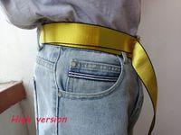 Top Design 200 cm-160 cm-120 cm Gelbe weiße Gürtel für Herren Womens Canvas Taille Einstellbare Unisex-Strap Lange Off Mode Männer Frauen Gürtel mit voller Set von Labels AAAAA
