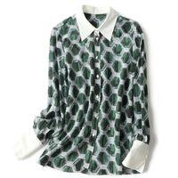100% Natural Silk Women's Shirt Turn Down Collar Long Sleeves Printed Elegant Fashion Blouse Camisa Tops