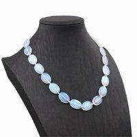 """Trendy Vrouwen Choker Ketting Sri Lanka Maansteen Ovaal 13x18mm Kralen Sieraden Opaal Crystal Stone Chain Oplite Kettingen 18 """"A828 Chokers"""