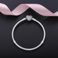 2021 Autentyczne 925 Sterling Silver Heart Charms Bransoletka z Box Fit Pandora Europejskiej Koraliki Biżuteria Bangle Prawdziwa Srebrna Bransoletka Dla Kobiet
