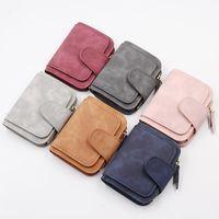 Wallets Ladies Wallet Short Korean Tri-fold Coin Purse Fashion Zip Buckle Card Holder Two-color Fabric Women Purses