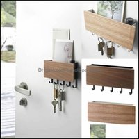 Hooks Rails Housekee Organization Home & Gardenwall-Hung Type Wooden Shelf Sundries Storage Box Hanger Organizer Key Rack Wall Hooks1 Drop D