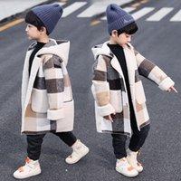 القادمون الجدد الخريف الشتاء الفتيان هوديس معطف لمدة 2-13 سنة طفل أطفال طويلة الأكمام منقوشة عارضة قمم أبلى معاطف اثنين من الألوان 789 v2