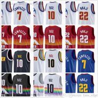 En Kaliteli Baskılı Basketbol 10 Bol Bol Formalar Özel 2021 Haber Beyaz Şehir 7 Facundo Campazzo 22 Zeke NNaji Siyah Kırmızı Mavi Sarı Jersey