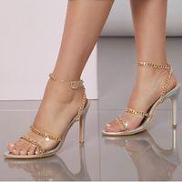 Dress Shoes 2021 Women 9cm High Heels Crystal Sandals Wedding Bridal Stiletto Sandles Glitter Prom Elegant Stripper Satin Strap
