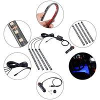 2021 48 LED Automobile colorata Atmosfera interna Atmosfera LED Strip Lights impermeabile Neon Strips Decorazione con telecomando e scatola al minuto