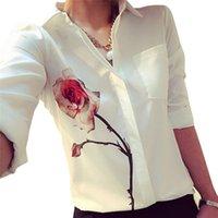 GTPDPLLT Осенняя роза цветок напечатана с длинным рукавом блузка отключить воротник шифоновые рубашки белая женская одежда