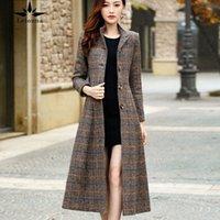 Leiouna Casual A-Line X-Long Plaid Laineen 2020 NOUVEAU FAHSION FEMMES Manteaux de laine de haute qualité Trench Hiver Winter Wewear Woman Coats N85x #