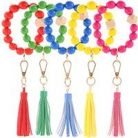 Wooden Beads Bracelet Solid Plain Bangle Wristlet Jewelry Tassel Key Ring Party Favor Keychain Bags Hanging Pendant Fashion Accessories Bracelets B7773